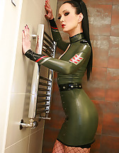Hot and sexy in military latex