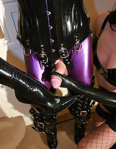 Tied rubber doll cums on boots