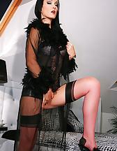 Morning masturbation in hot nylons, pic #2