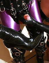 Tied rubber doll cums on boots, pic #13