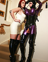 Tied rubber doll cums on boots, pic #6