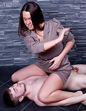 Ball crushing femdom training, pic #13