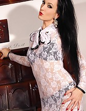 Lady teases in lace and nylons, pic #12