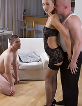 Watching hotwife handle cock, pic #5